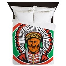 Native American Indian Chief Headdress Queen Duvet