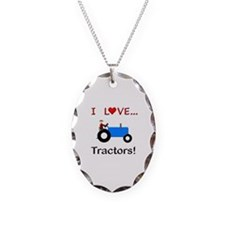 I Love Blue Tractors Necklace