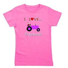 I Love Purple Tractors Girl's Tee