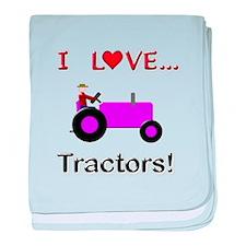 I Love Purple Tractors baby blanket