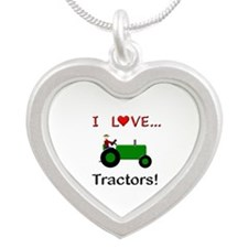 I Love Green Tractors Silver Heart Necklace