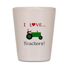 I Love Green Tractors Shot Glass