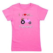 I Love Pink Tractors Girl's Tee