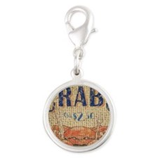 vintage crab  seafood  beach a Silver Round Charm