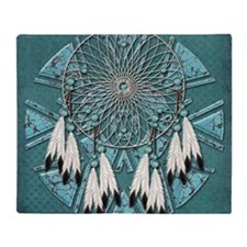 American Indian Azure Dream Catcher Throw Blanket