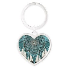 American Indian Azure Dream Catcher Heart Keychain