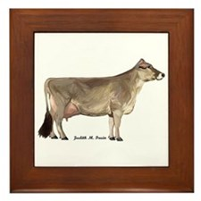 Brown Swiss Dairy Cow Framed Tile