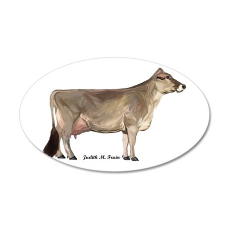 Brown Swiss Dairy Cow 35x21 Oval Wall Decal
