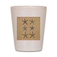 starfish  seashell burlap beach art Shot Glass