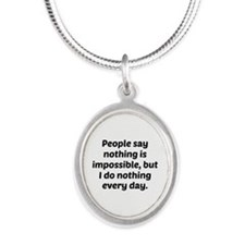 Nothing Is Impossible Silver Oval Necklace