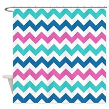 Turquoise Navy and Pink chevrons Shower Curtain