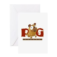 Pug Person Greeting Cards