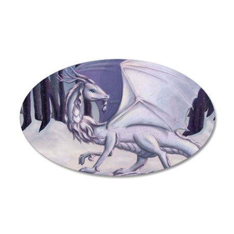 Snow Dragon 35x21 Oval Wall Decal