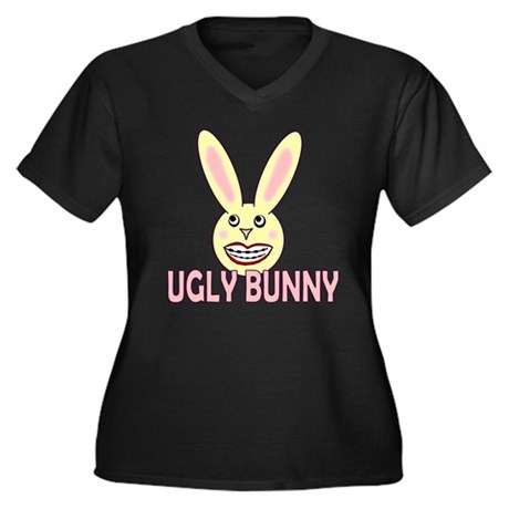 Ugly Bunny Women's Plus Size V-Neck Dark T-Shirt