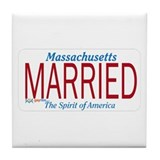Married Massachusetts Tile Coaster