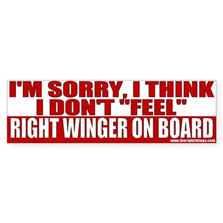 Right Winger On Board Bumper Sticker