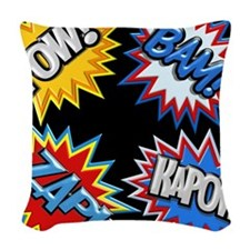 Comic Book Bursts Pow! 3D Woven Throw Pillow