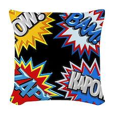 Comic Book Bursts Pow! 3D Woven Throw Pillow