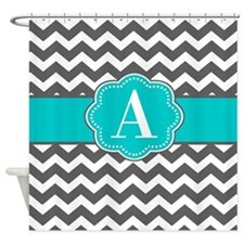 Gray Blue Chevron Monogram Shower Curtain