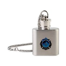 Firefighter Maltese Cross Flask Necklace