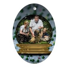 Personalizable Snowglobe Photo Frame Ornament (Ova