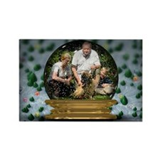 Personalizable Snowglobe Photo Frame Rectangle Mag