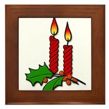 Red Christmas Candles with Holly Framed Tile