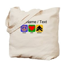 Custom Peace Love Hockey Tote Bag