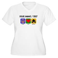 Custom Peace Love Hockey Plus Size T-Shirt