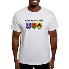 Custom Peace Love Hockey T-Shirt