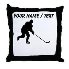 Custom Hockey Player Silhouette Throw Pillow