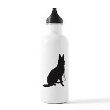 Shepherd with Leash Sports Water Bottle