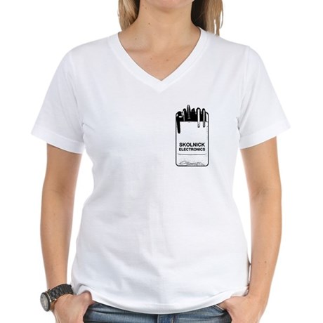 Skolnick Electronics Pocket P Womens V-Neck T-Shi
