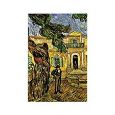 Van Gogh - Pine Trees with Figure Rectangle Magnet