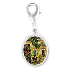 Van Gogh - Pine Trees with Figu Silver Oval Charm