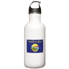 Montana Flag Distressed Water Bottle