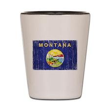 Montana Flag Distressed Shot Glass