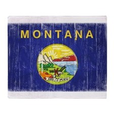 Montana Flag Distressed Throw Blanket