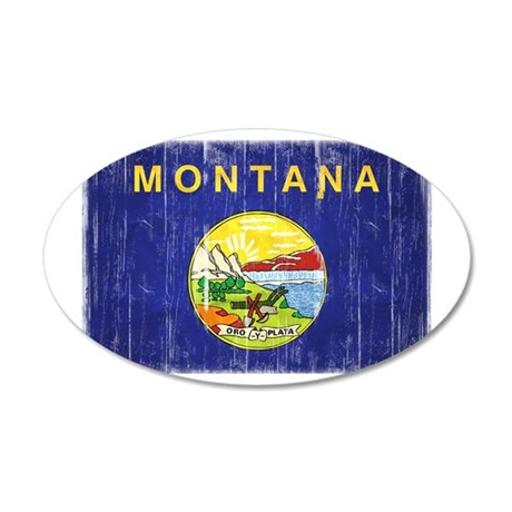 Montana Flag Distressed 35x21 Oval Wall Decal