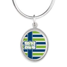 Blue and Lime Stripes Custom Monogram Silver Oval