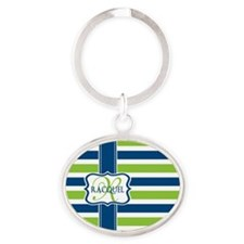Blue and Lime Stripes Custom Monogram Oval Keychai