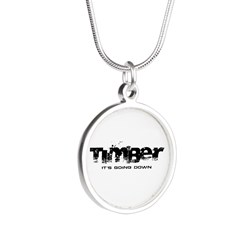 Timber - It's Going Down Silver Round Necklace