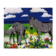 Vintage Zebra Art Throw Blanket