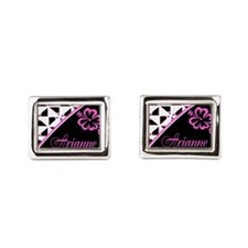 Stylish Hibiscus Pink N Black - Custom Cufflinks
