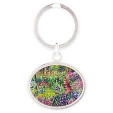 The Iris Garden by Claude Monet Oval Keychain