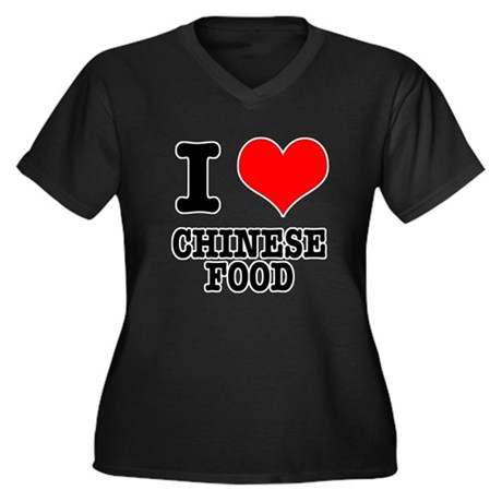 I Heart (Love) Chinese Food Women's Plus Size V-Ne