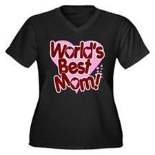 World's BEST Mom! Women's Plus Size V-Neck Dark T-