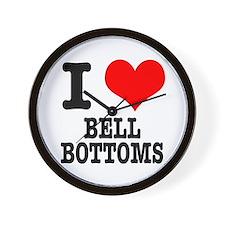 I Heart (Love) Bell Bottoms Wall Clock