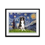 Starry Night Border Collie Framed Panel Print