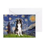 Starry Night Border Collie Greeting Cards (Pk of 1